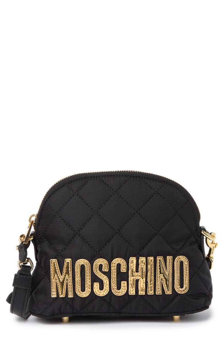 MOSCHINO Quilted Leather 'Moschino' Crossbody Bag, Main, color, BLACK