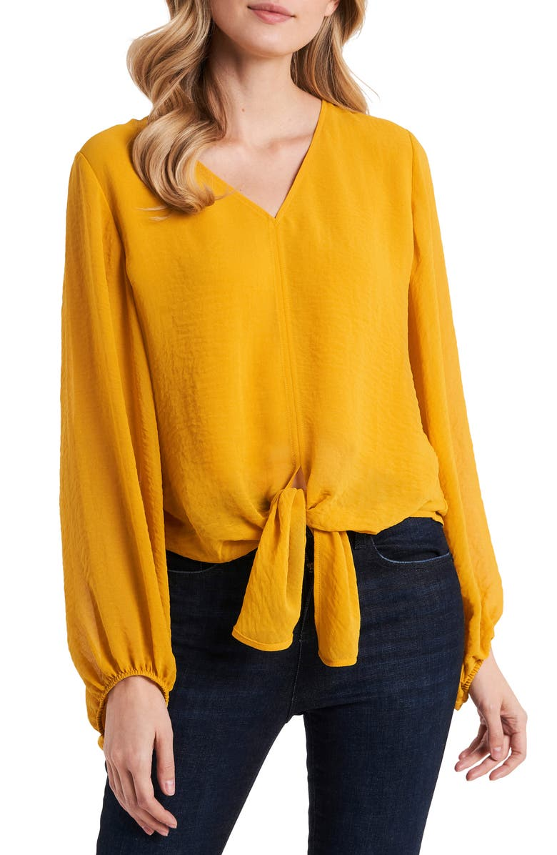 VINCE CAMUTO Tie Front Rumple Blouse, Main, color, MOSAIC MUSTARD