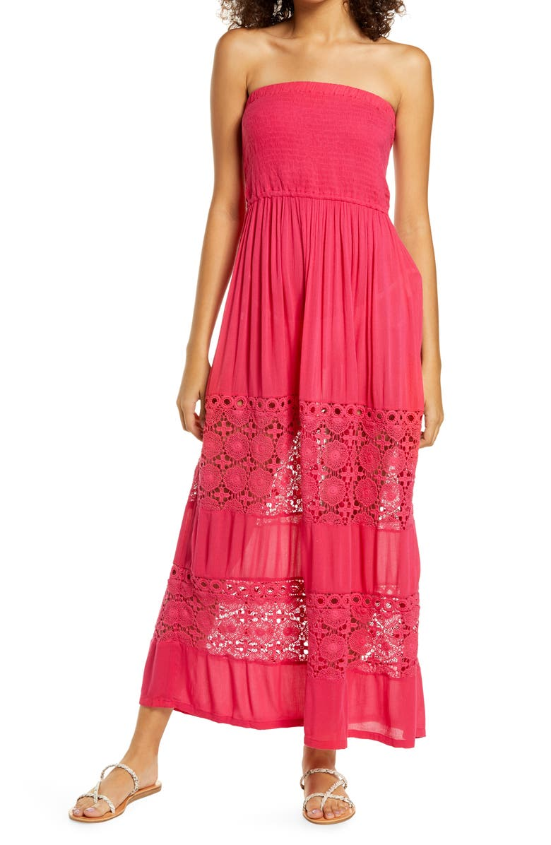 CHELSEA28 Farrah Smocked Cover-Up Maxi Dress, Main, color, PINK BRIGHT