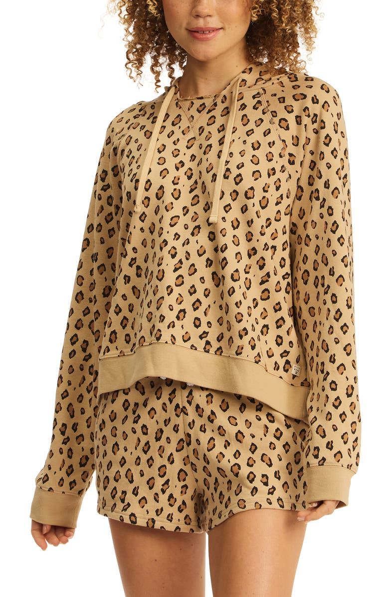BILLABONG Surf Waves Leopard Print French Terry Hoodie, Main, color, ANIMAL ANI