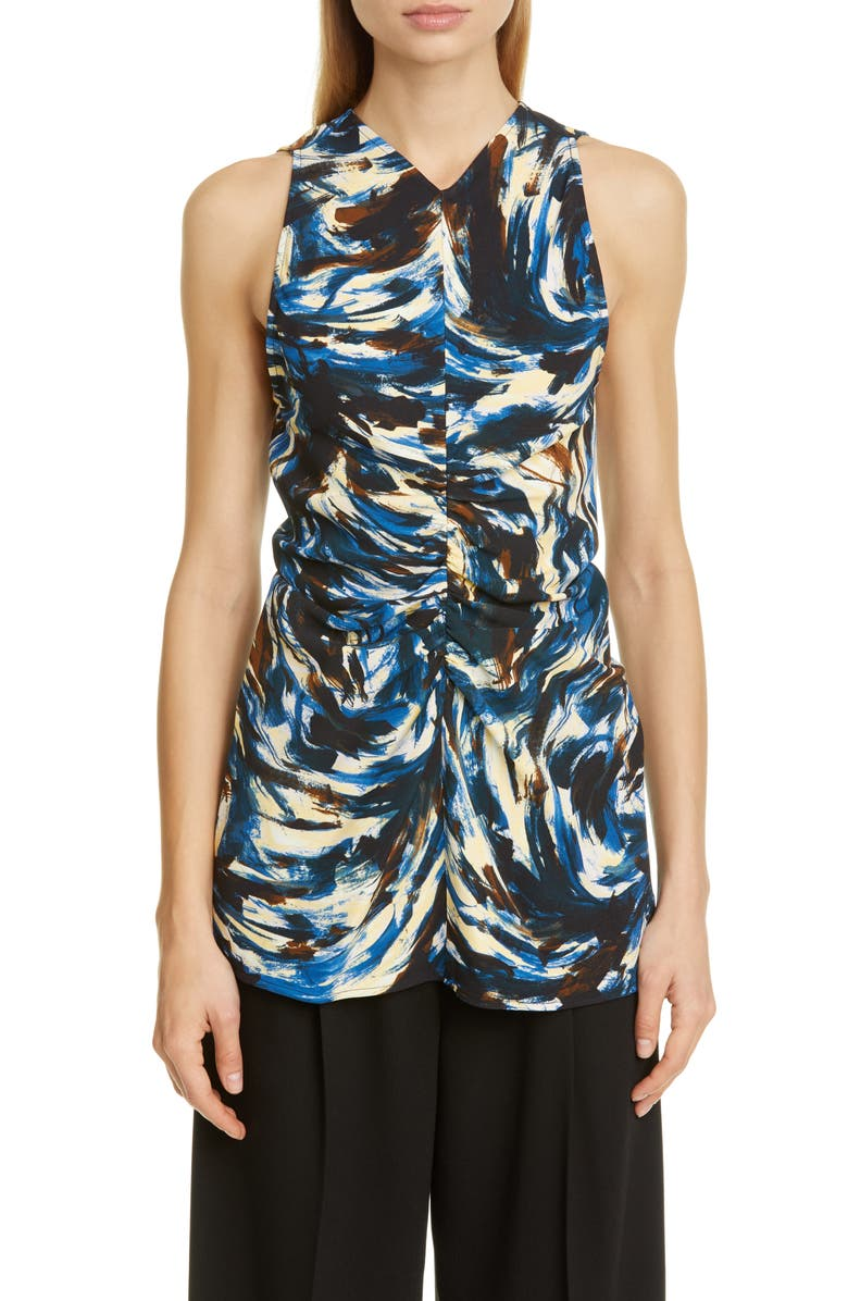 PROENZA SCHOULER Paint Print Ruched Cady Tank, Main, color, 001