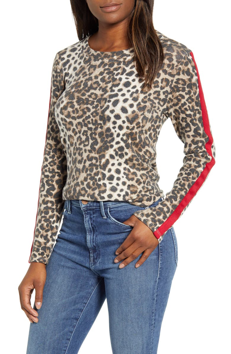 BOBEAU Cozy Athletic Tape Top, Main, color, BROWN ANIMAL