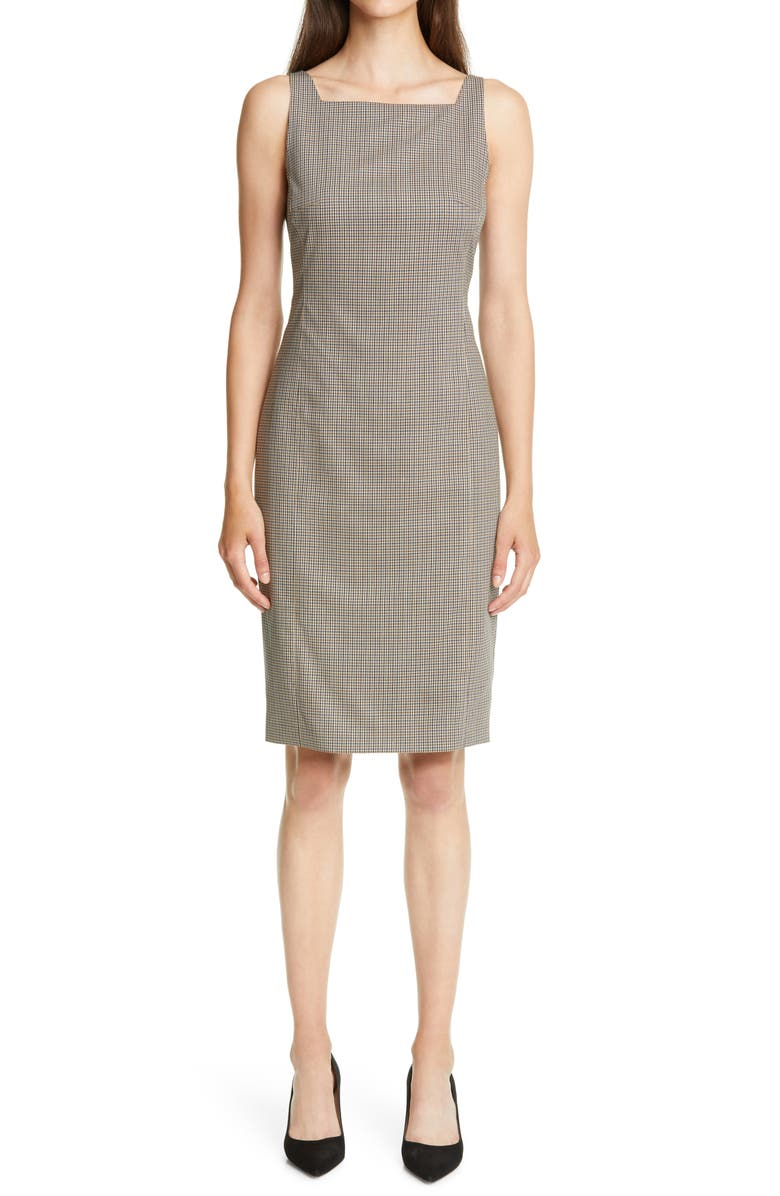 THEORY Square Neck Wool Sheath Dress, Main, color, BROWN MULTI