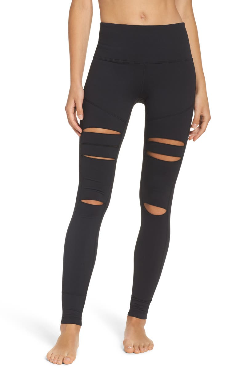 ZELLA Cece High Waist Open Knee Leggings, Main, color, 001
