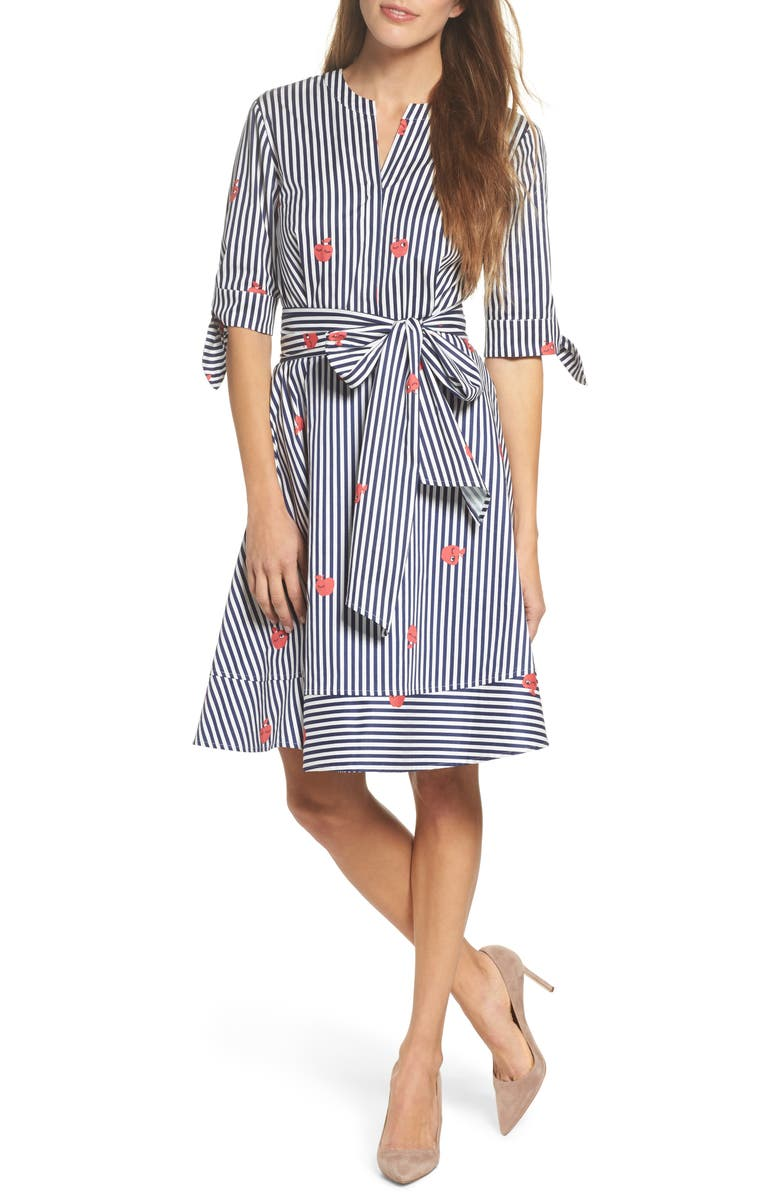 FELICITY & COCO Bella Tie Front Fit & Flare Shirtdress, Main, color, 413
