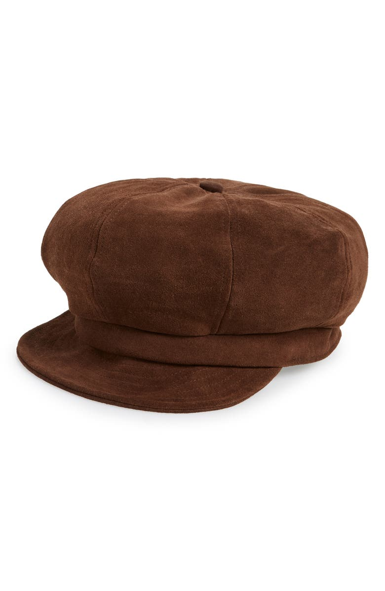 BRIXTON Montreal Unstructured Leather Driving Cap, Main, color, 200