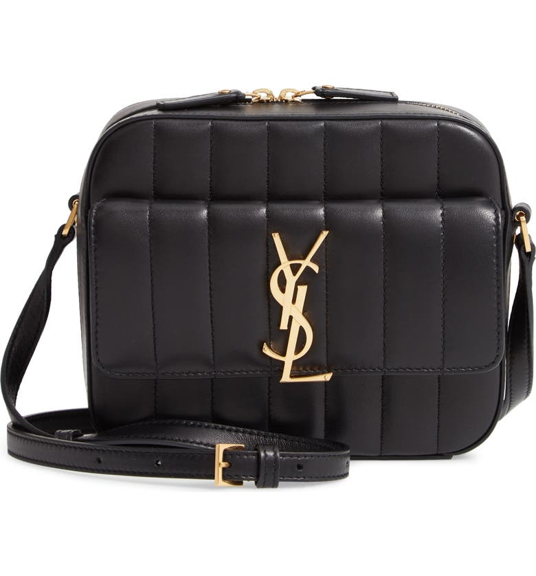 SAINT LAURENT Vicky Leather Camera Bag, Main, color, 001