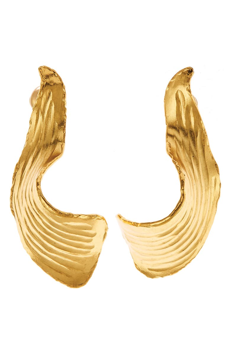 OSCAR DE LA RENTA Small Molten Leaf Earrings, Main, color, 710