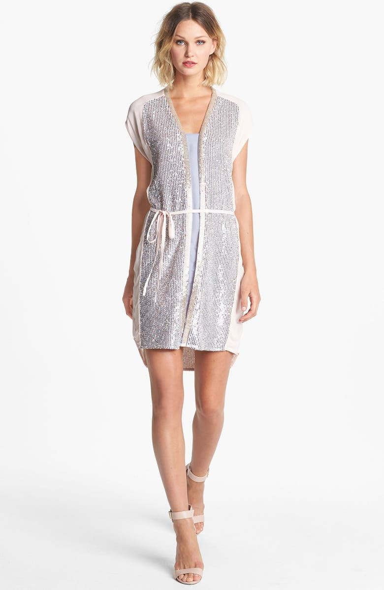FRENCH CONNECTION Sequin High/Low Shirtdress, Main, color, 040