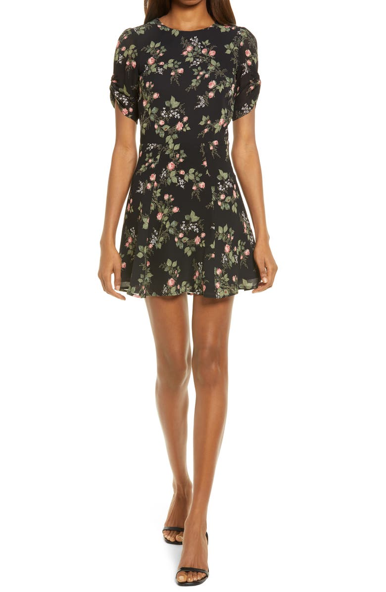 REFORMATION Gracie Ruched Sleeve Minidress, Main, color, NICOLE