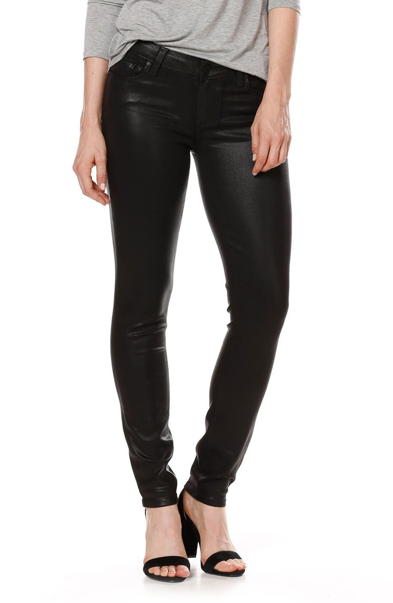 PAIGE Transcend - Verdugo Coated Skinny Jeans, Main, color, LUXE BLACK COATED