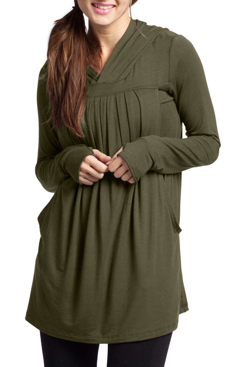 SAVI MOM Yoga Maternity/Nursing Hoodie, Main, color, OLIVE
