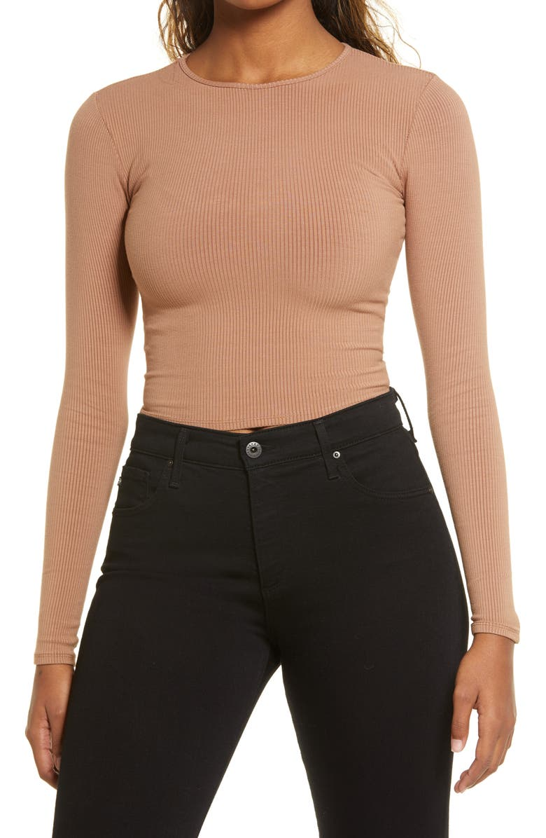 NAKED WARDROBE Snatched to the T Long Sleeve Top, Main, color, COCO