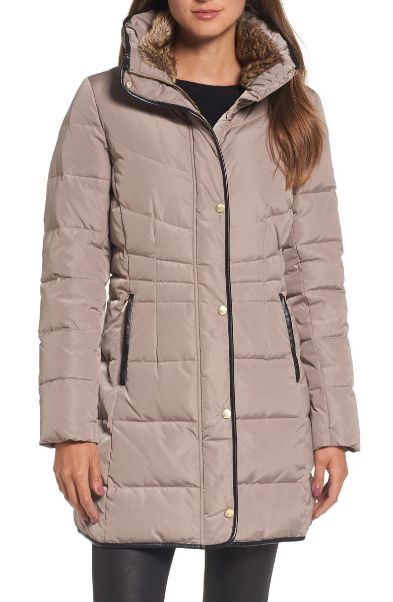 COLE HAAN SIGNATURE Cole Haan Quilted Down & Feather Fill Jacket with Faux Fur Trim, Main, color, CASHEW