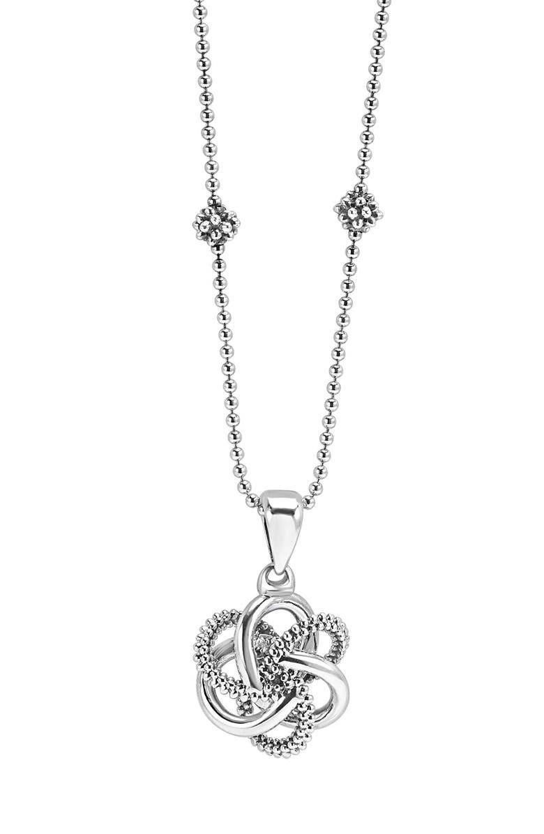LAGOS 'Love Knot' Pendant Necklace, Main, color, STERLING SILVER