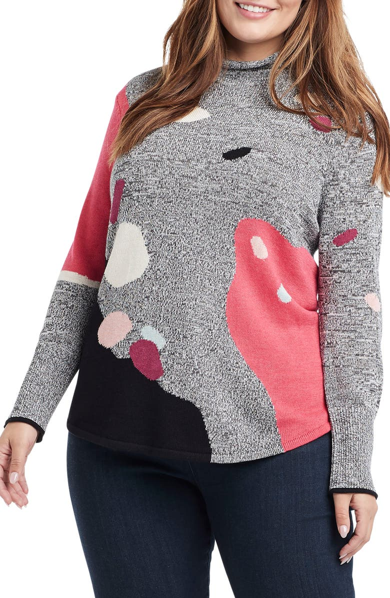 NIC+ZOE Abstract Intarsia Turtleneck Sweater, Main, color, PINK MULTI