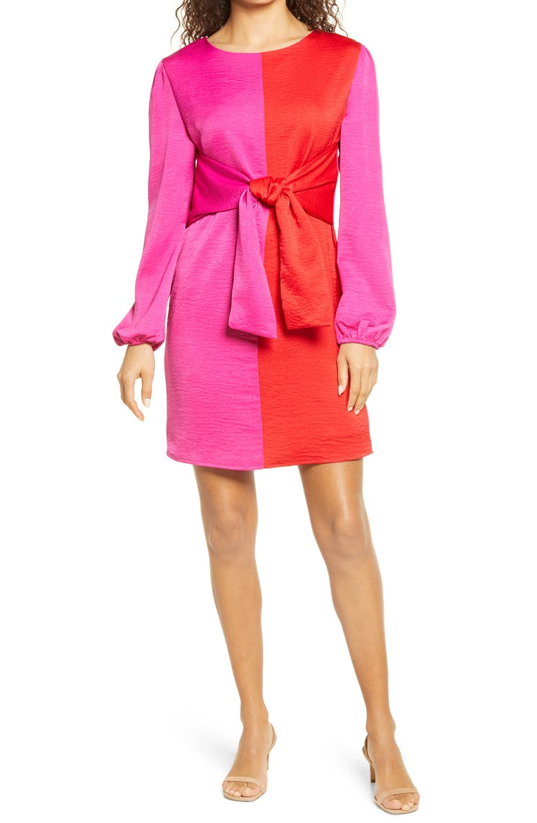 FRAICHE BY J Colorblock Tie Waist Long Sleeve Dress, Main, color, PINK RED