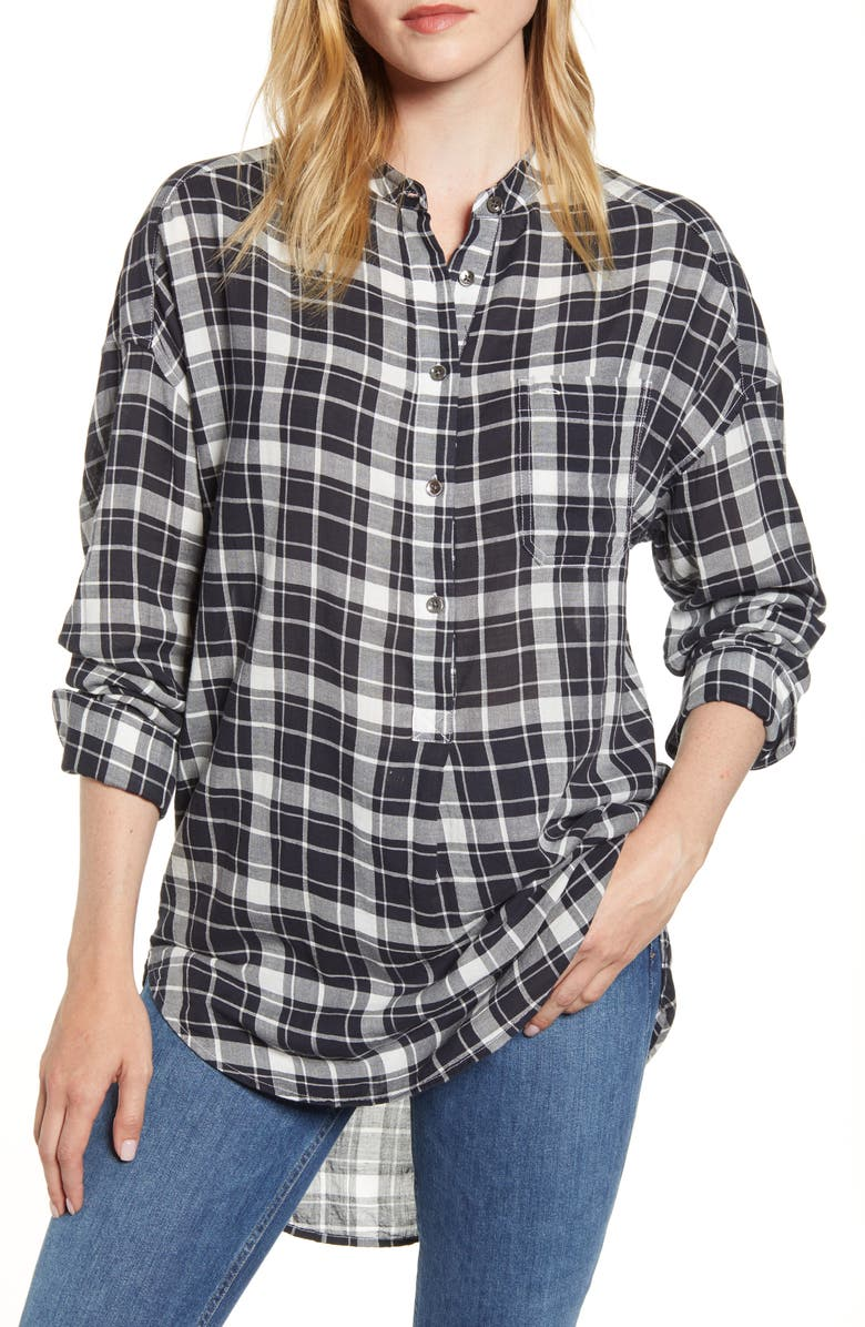 ALEX MILL Plaid Popover Tunic Shirt, Main, color, 001
