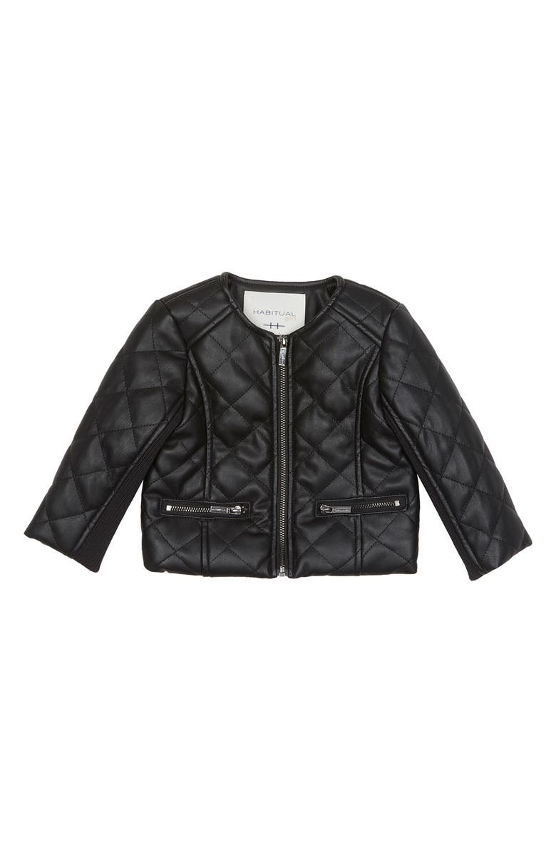 HABITUAL GIRL Habitual Jade Faux Leather Quilted Jacket, Main, color, 001