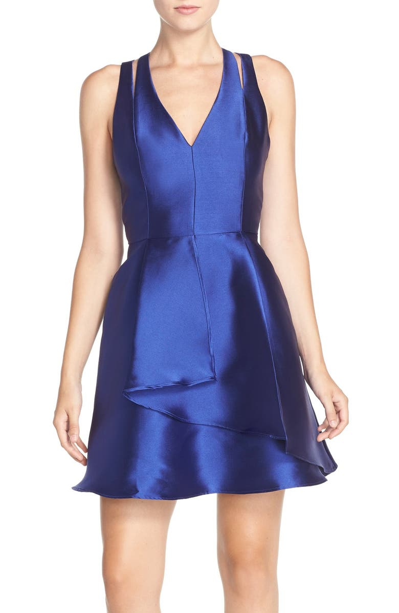 ADELYN RAE Twill Fit & Flare Dress, Main, color, 401