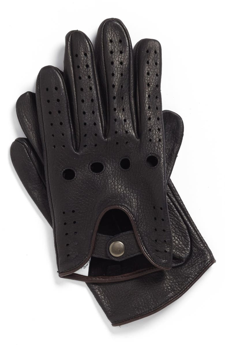 JOHN W. NORDSTROM<SUP>®</SUP> Leather Driving Gloves, Main, color, Black