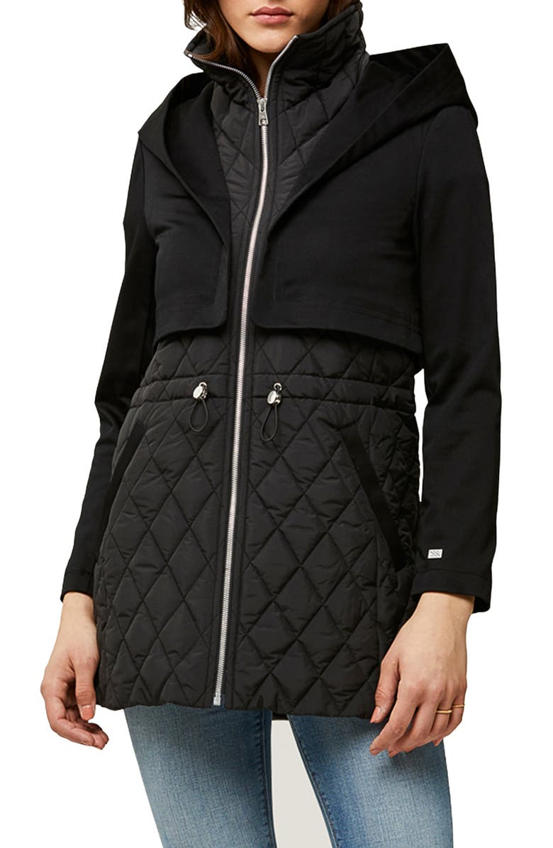 SOIA & KYO Enora Mix Water Repellent Quilted Raincoat, Main, color, Black