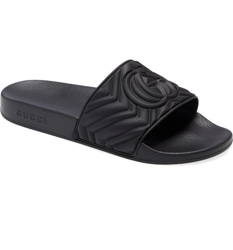 GUCCI Matelassé Slide Sandal, Main, color, Black