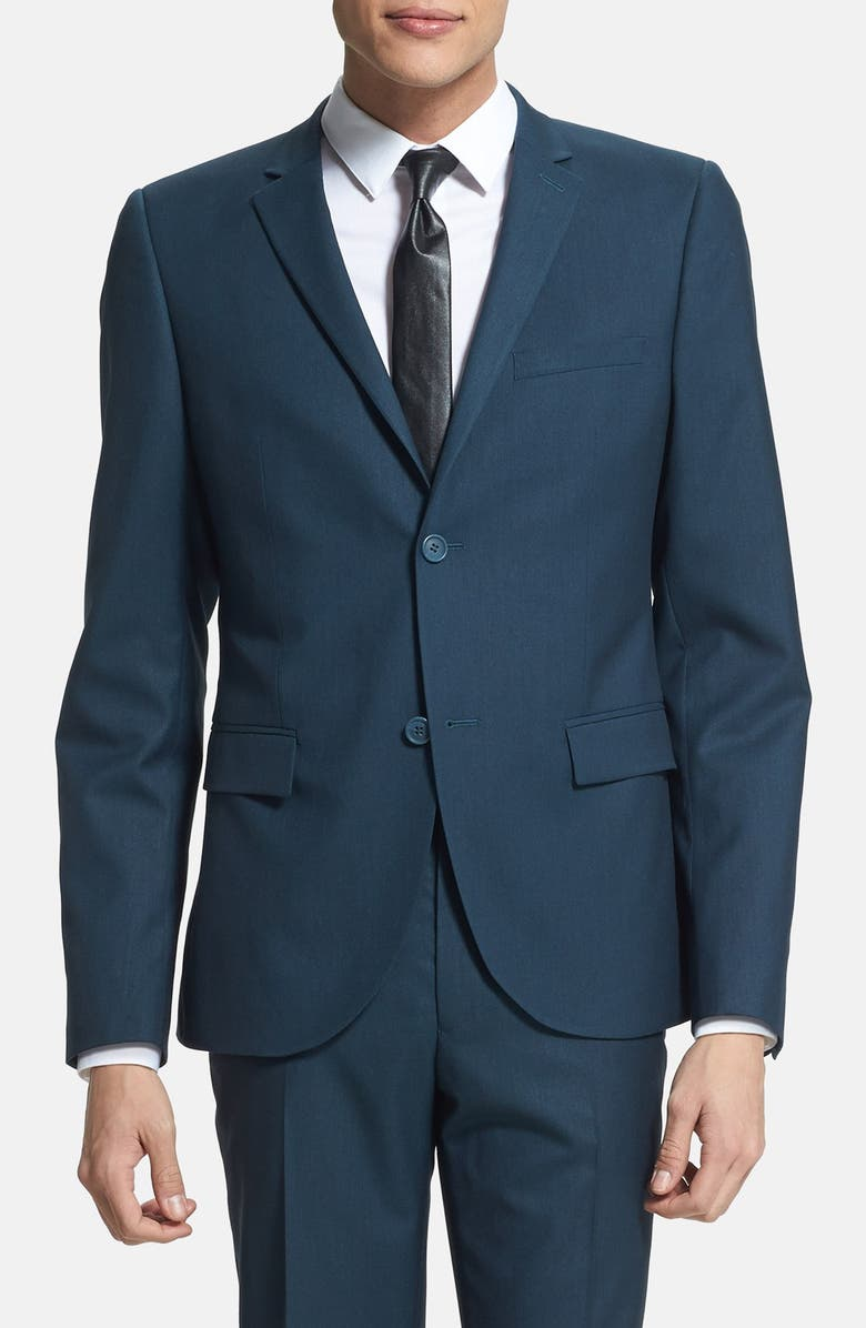 TOPMAN Skinny Fit Teal Suit Jacket, Main, color, 440