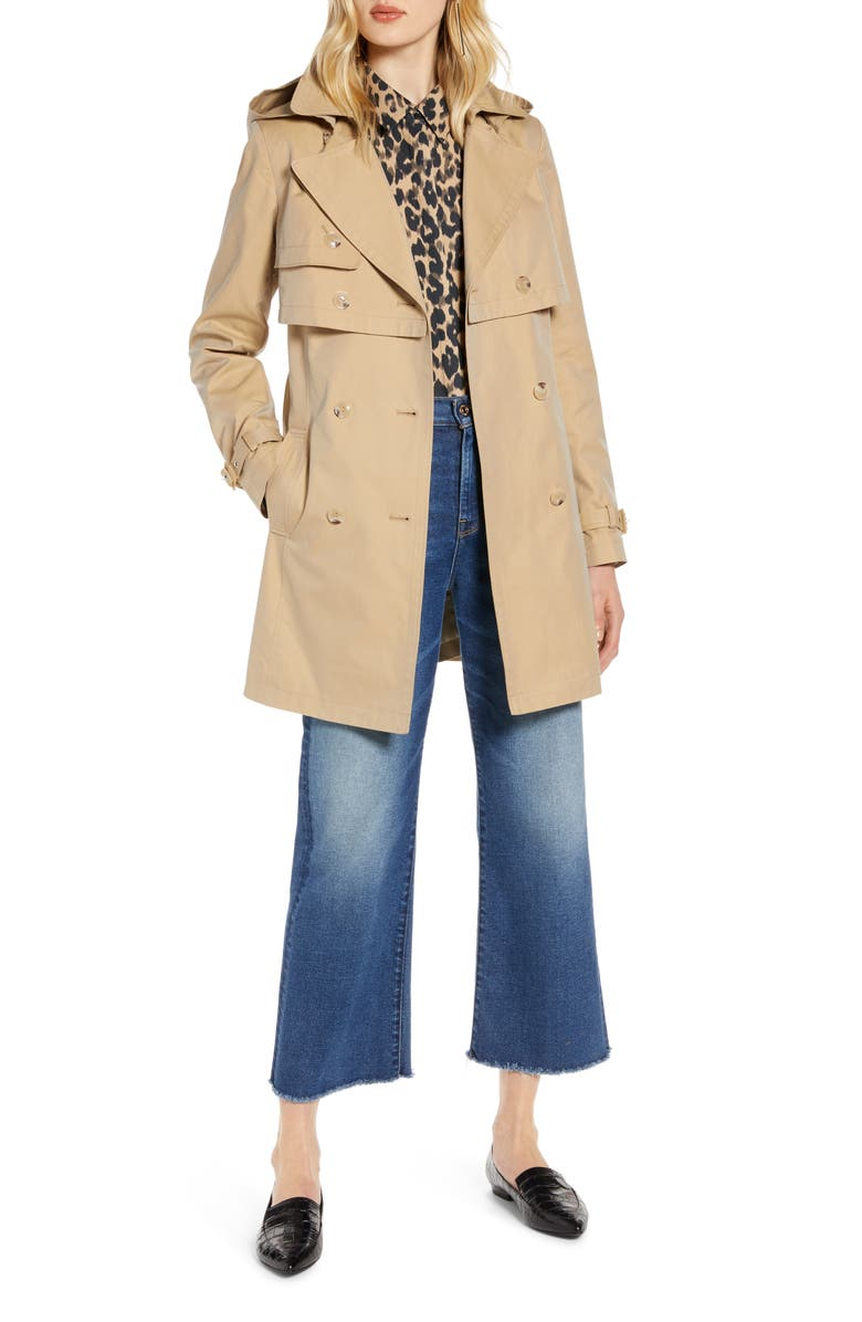 HALOGEN<SUP>®</SUP> Double Breasted Trench Coat with Removable Hood, Main, color, KHAKI