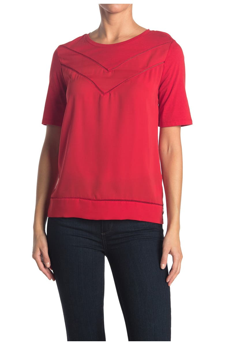 SCOTCH AND SODA Woven Jersey Mixed T-Shirt, Main, color, 3229-PARIS RED