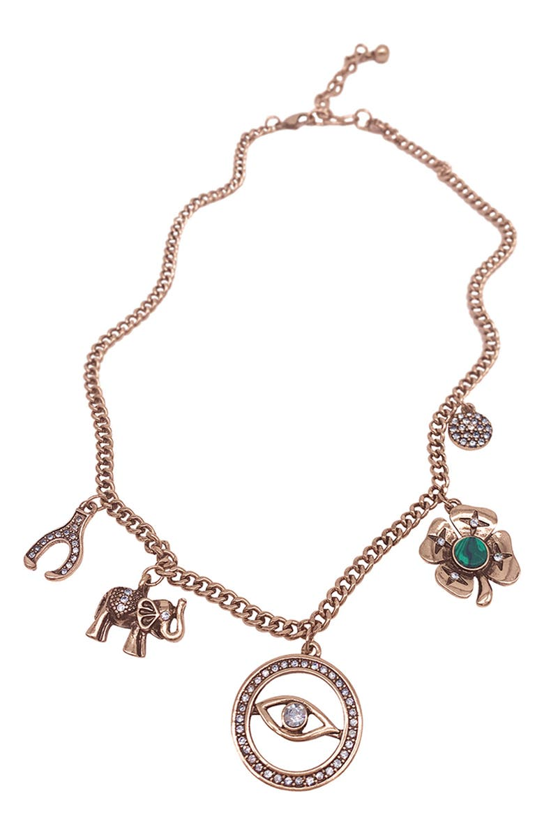 ADORNIA 14K Rose Gold Plated Mixed Charm Necklace, Main, color, PINK