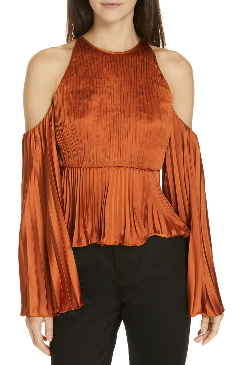 AMUR Kris Pleated Satin Top, Main, color, 220