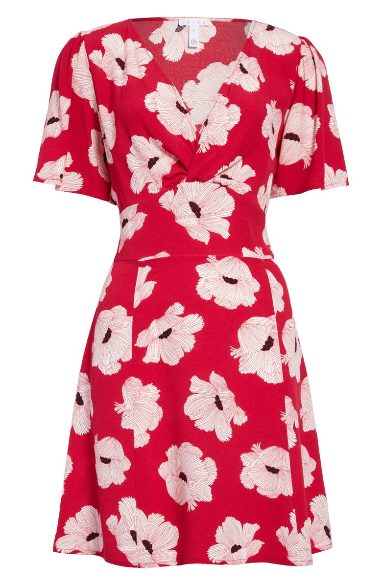 LEITH Twist Front A-Line Minidress, Main, color, RED BEETROOT LINEAR FLORAL