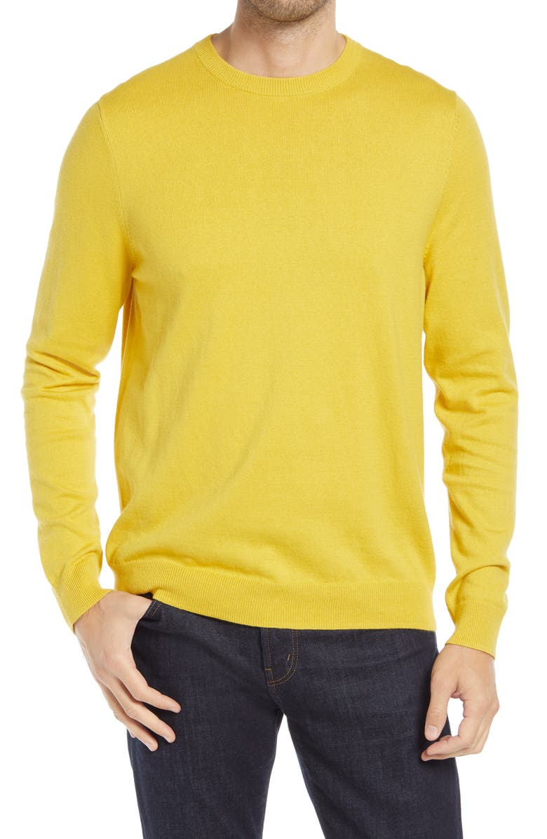 NORDSTROM Cotton & Cashmere Crewneck Sweater, Main, color, YELLOW BAMBOO