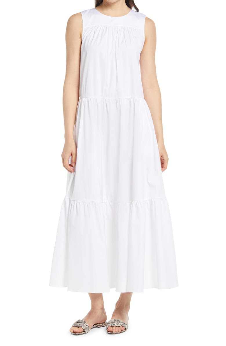 NORDSTROM Tiered Sleeveless Cotton Dress, Main, color, White