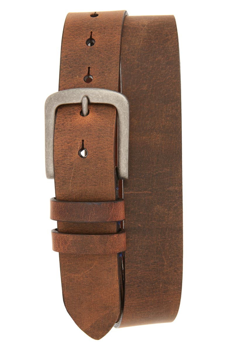 TORINO Distressed Waxed Harness Leather Belt, Main, color, Brown