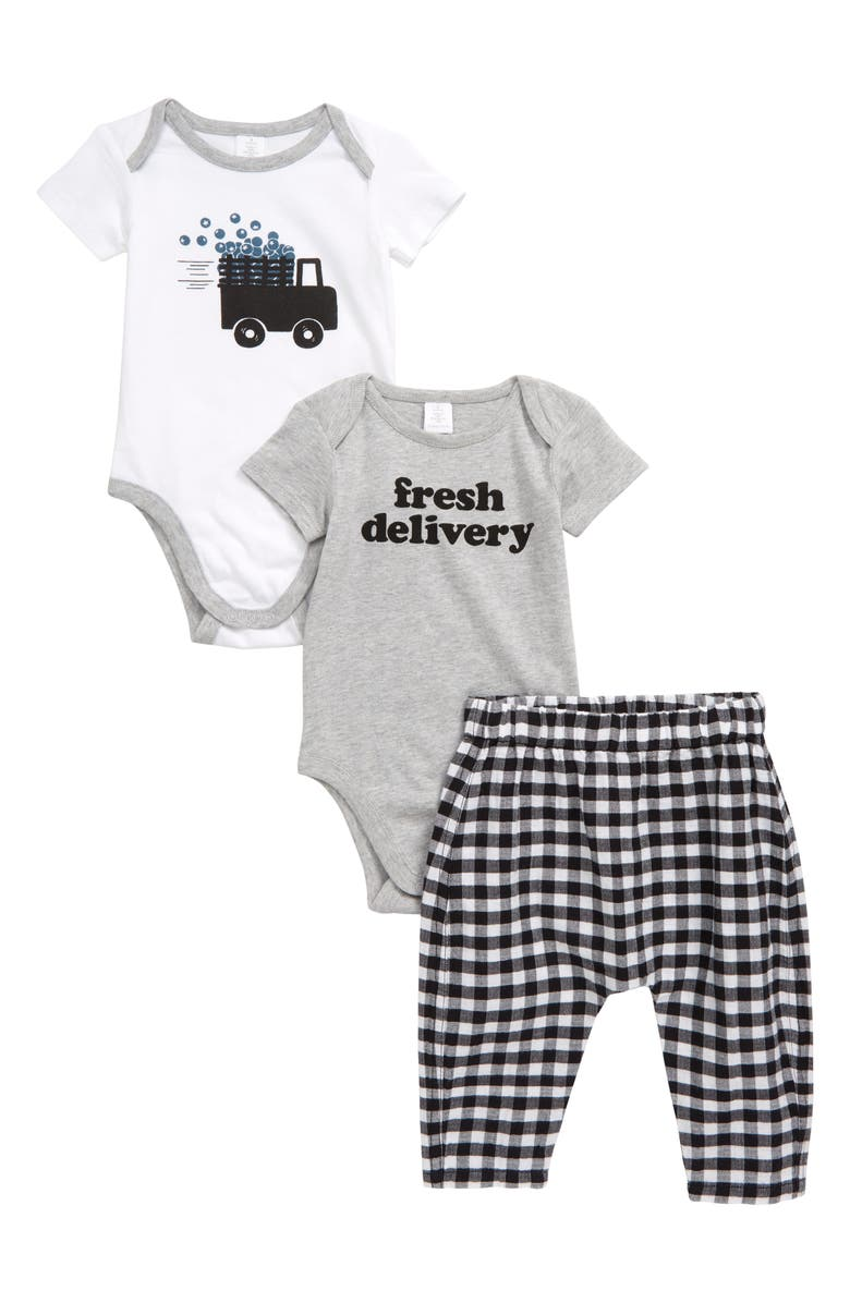 NORDSTROM BABY Truck 2-Pack Graphic Rompers & Gingham Jogger Pants Set, Main, color, 100