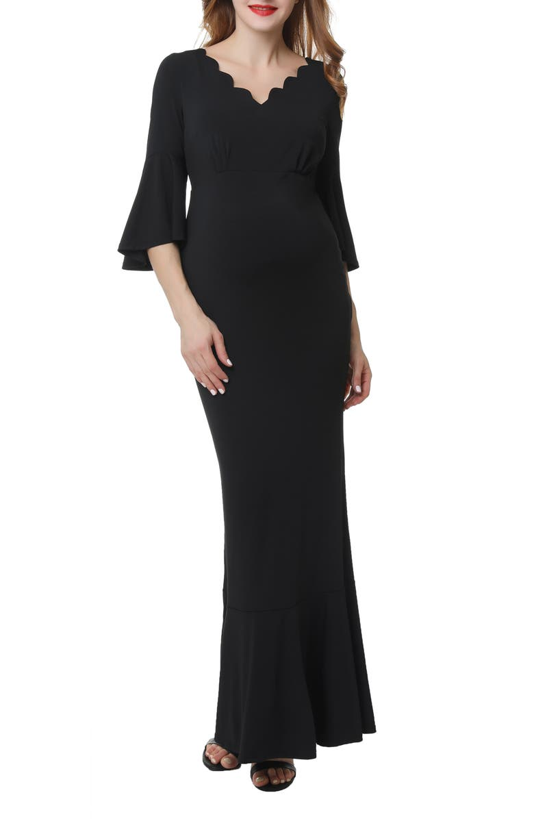 KIMI AND KAI Maisie Scalloped Maternity Mermaid Gown, Main, color, BLACK