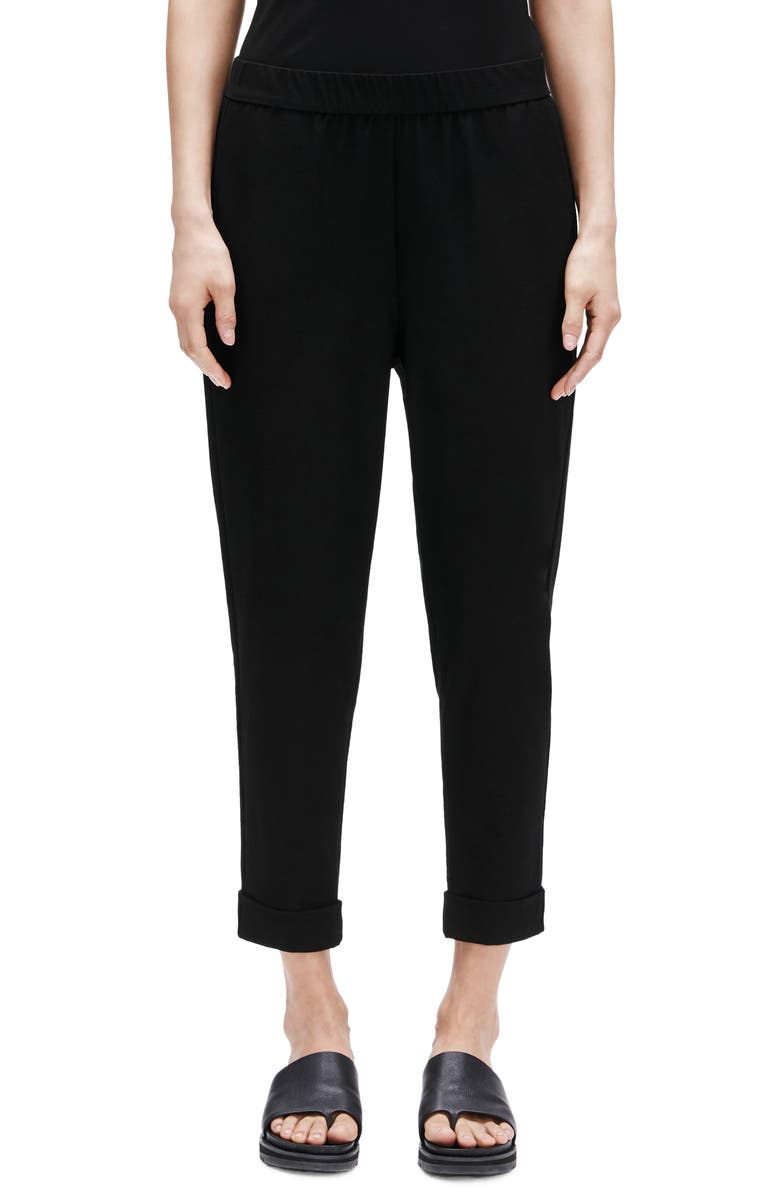 EILEEN FISHER Cuffed Slouchy Ankle Pants, Main, color, BLACK