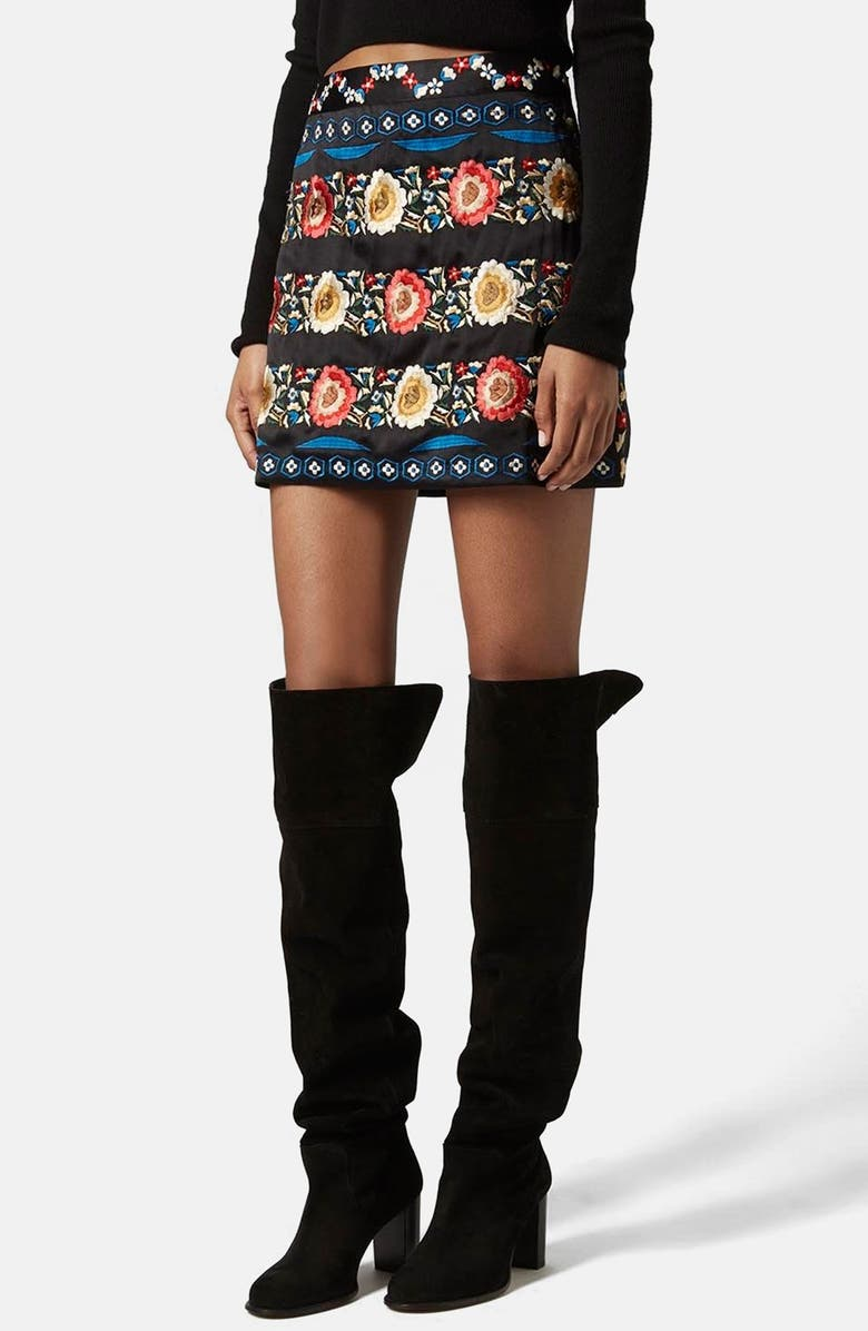 TOPSHOP Embroidered A-Line Skirt, Main, color, BLACK MULTI