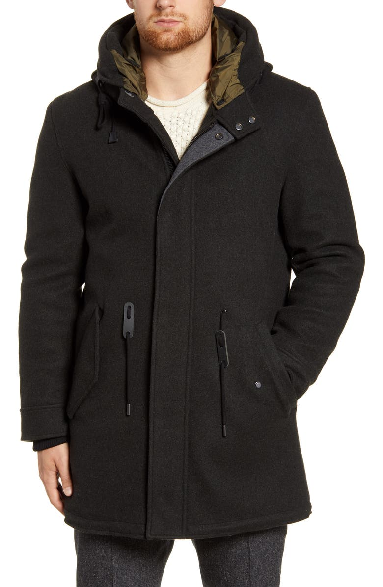COLE HAAN Windproof Water Resistant Parka, Main, color, BLACK