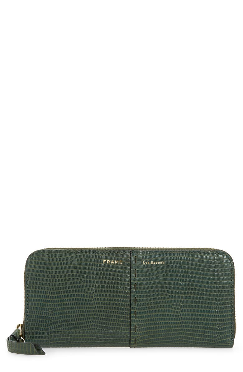 FRAME Les Second Embossed Continental Wallet, Main, color, FOREST LIZARD