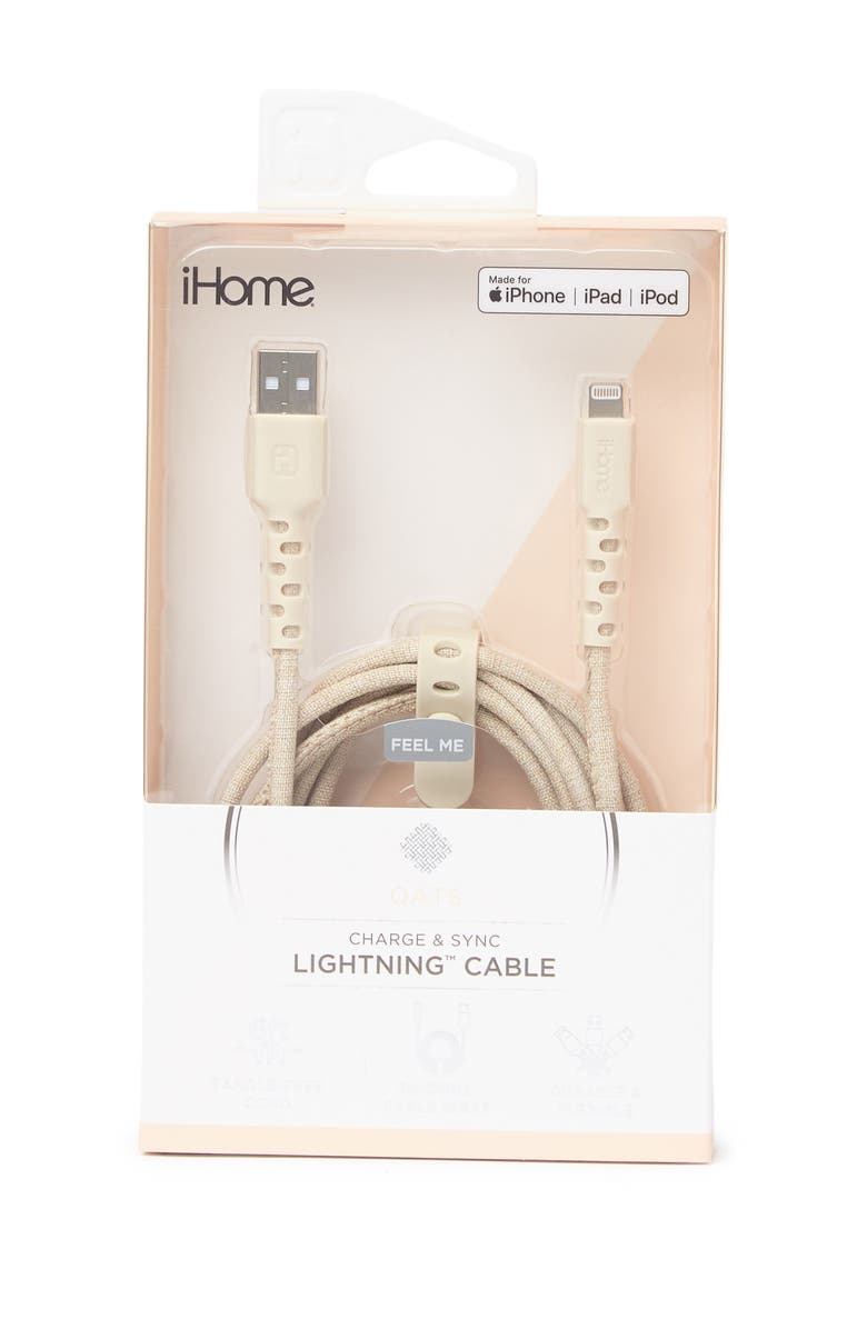 IHOME Durastrain 6ft. Lighting Charge Cord - White, Main, color, WHITE