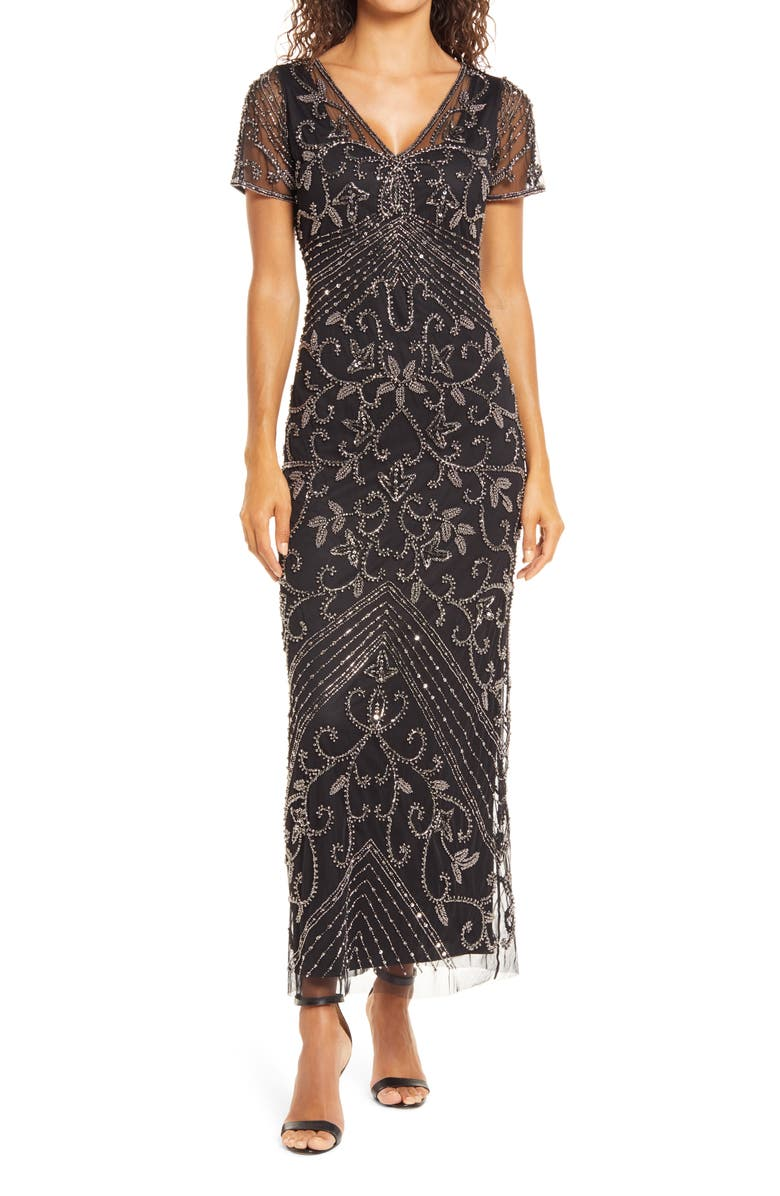 PISARRO NIGHTS Beaded Mesh Column Gown, Main, color, BLACK/MERCURY