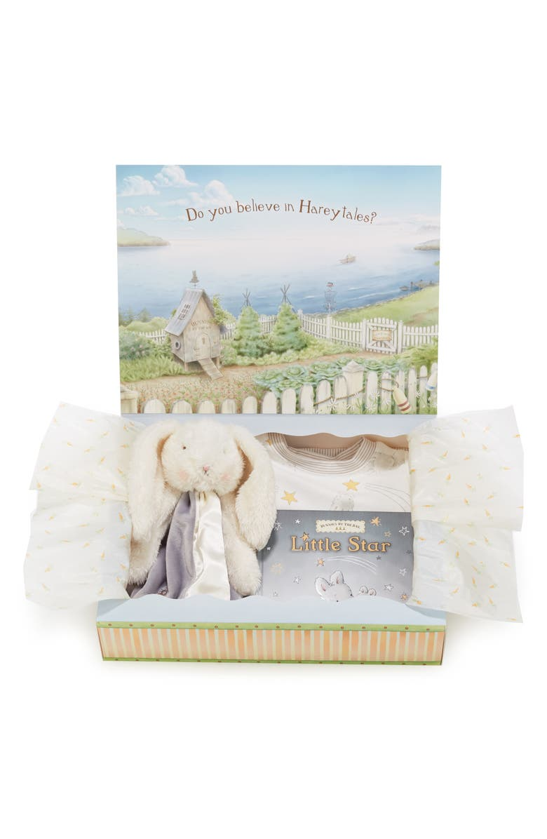 BUNNIES BY THE BAY Twinkle Sleepy Baby Fitted Pajamas, Animal Buddy Blanket & Board Book Set, Main, color, 050