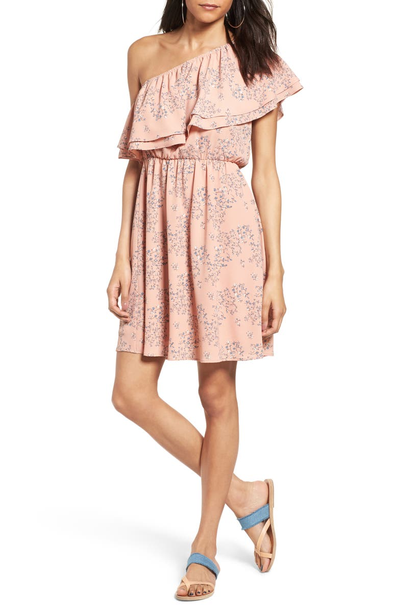 ALL IN FAVOR Ruffle One-Shoulder Dress, Main, color, 968