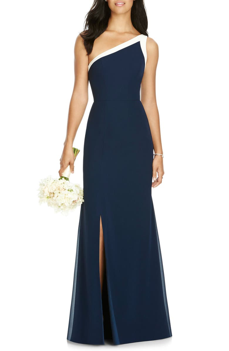 SOCIAL BRIDESMAIDS One-Shoulder Chiffon Gown, Main, color, MIDNIGHT