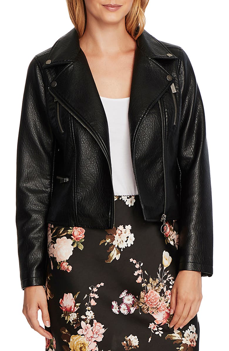 VINCE CAMUTO Textured Faux Leather Moto Jacket, Main, color, 001