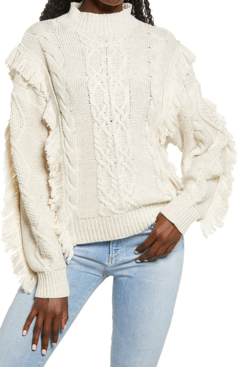 LEITH Cable Knit Fringe Sweater, Main, color, 270