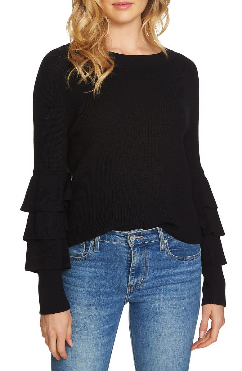 1.STATE Tiered Ruffle Sleeve Sweater, Main, color, RICH BLACK
